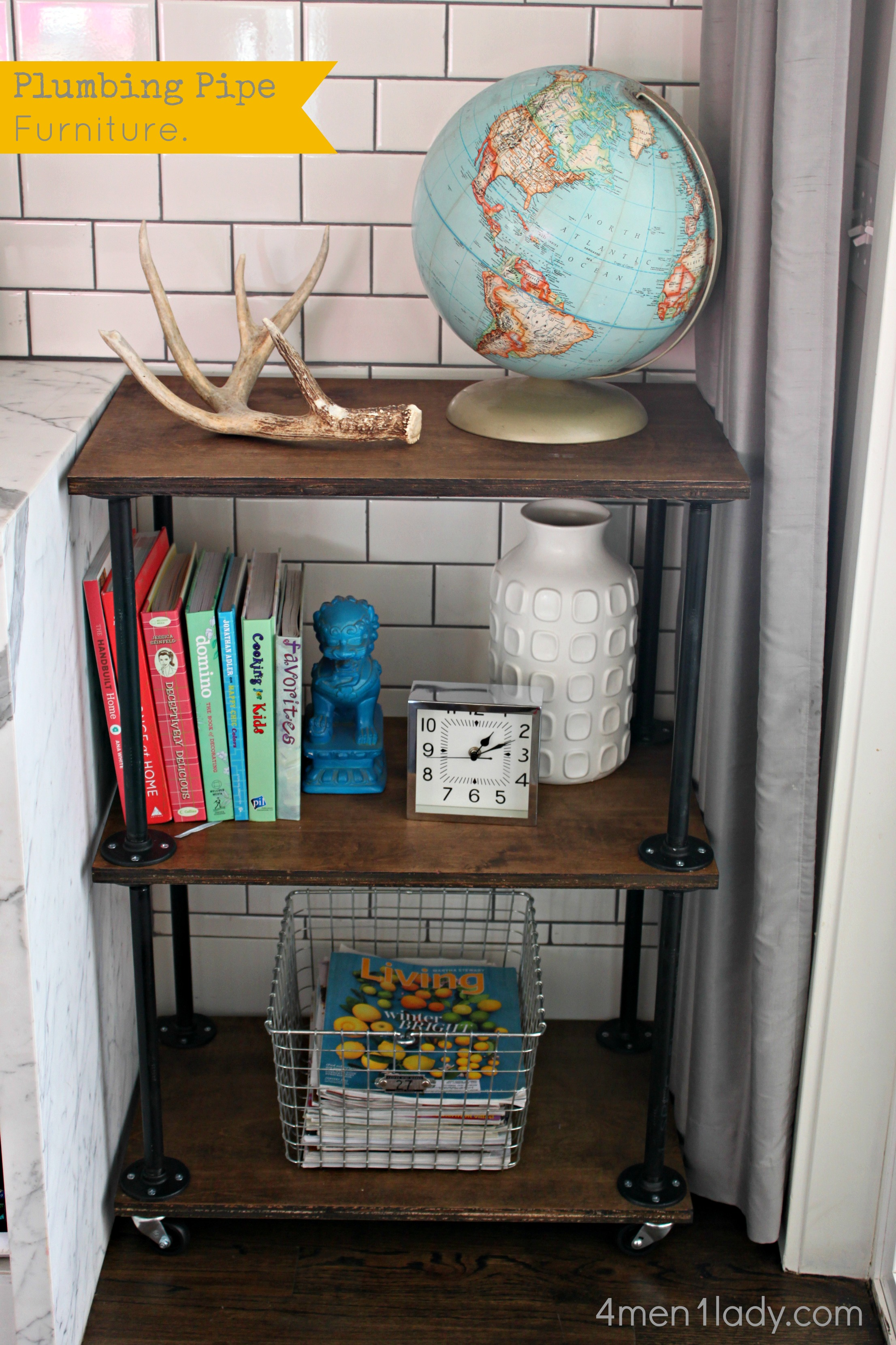 Plumbing pipe bookcase for Diy industrial bookshelf