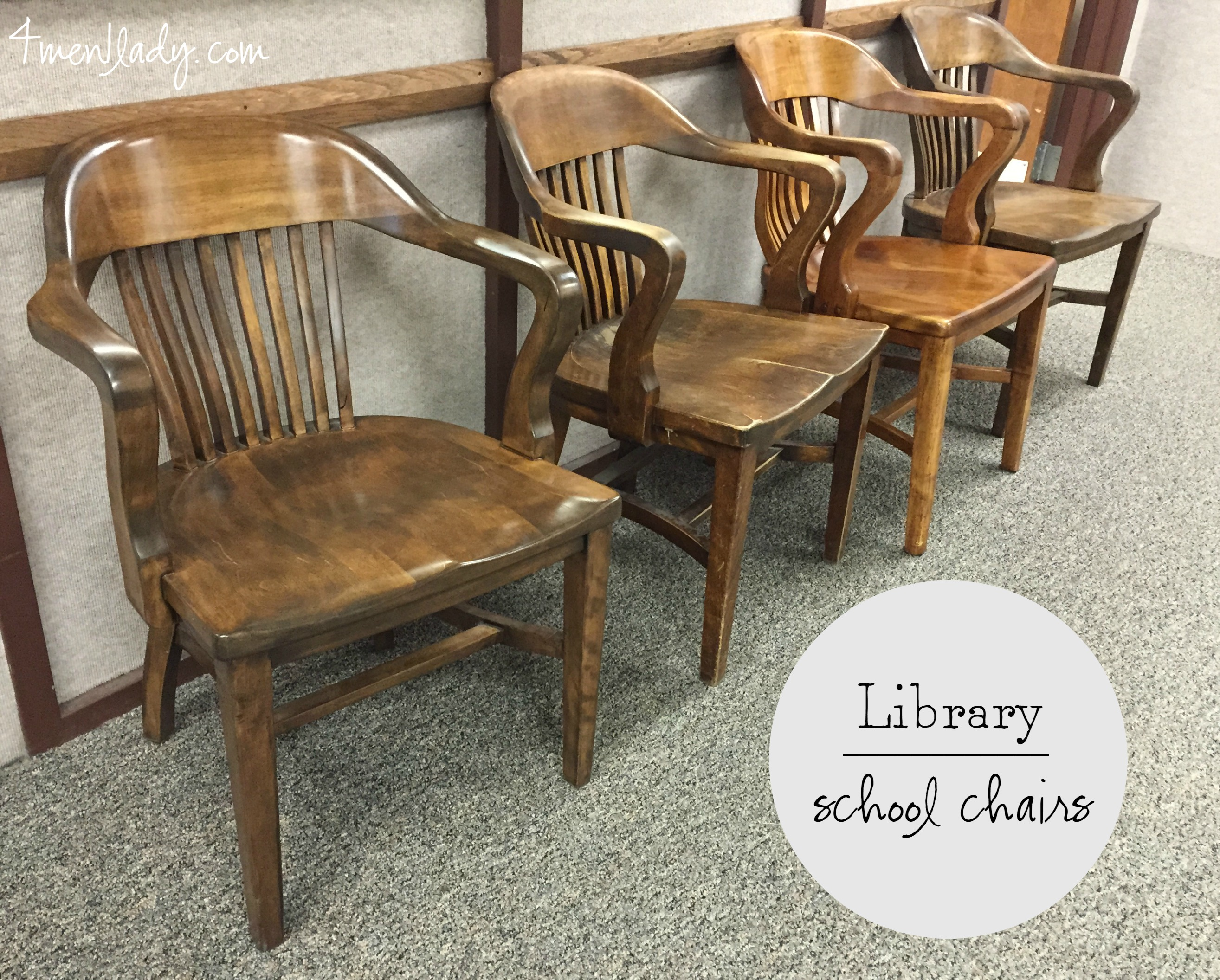 Antique Wooden Chairs ~ Vintage library chairs