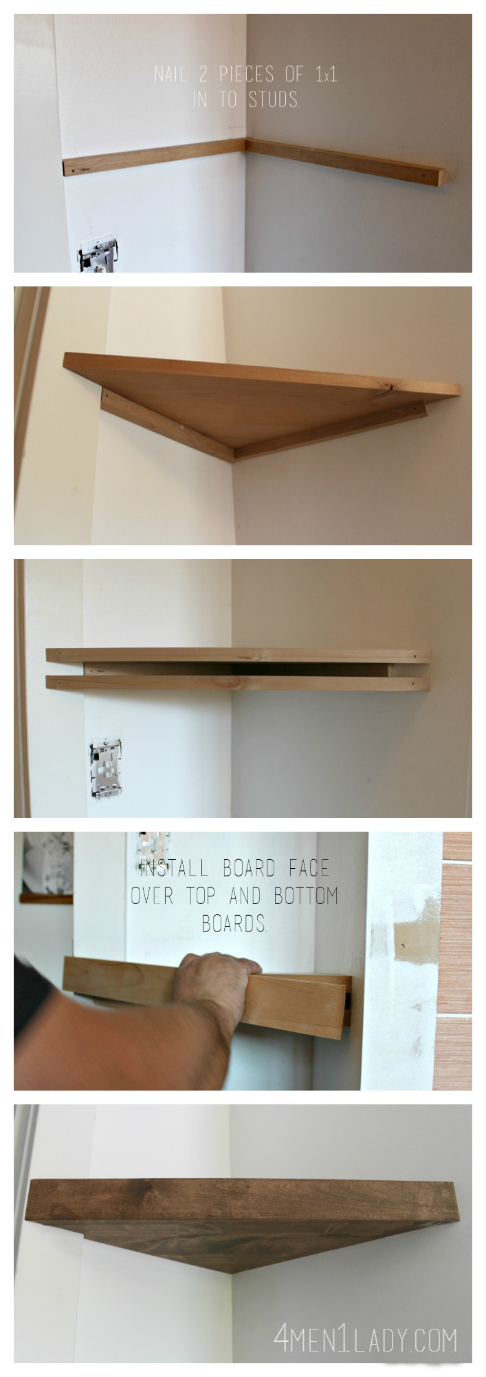 When life gives you lemons make corner floating shelves for How to make wall shelves easy