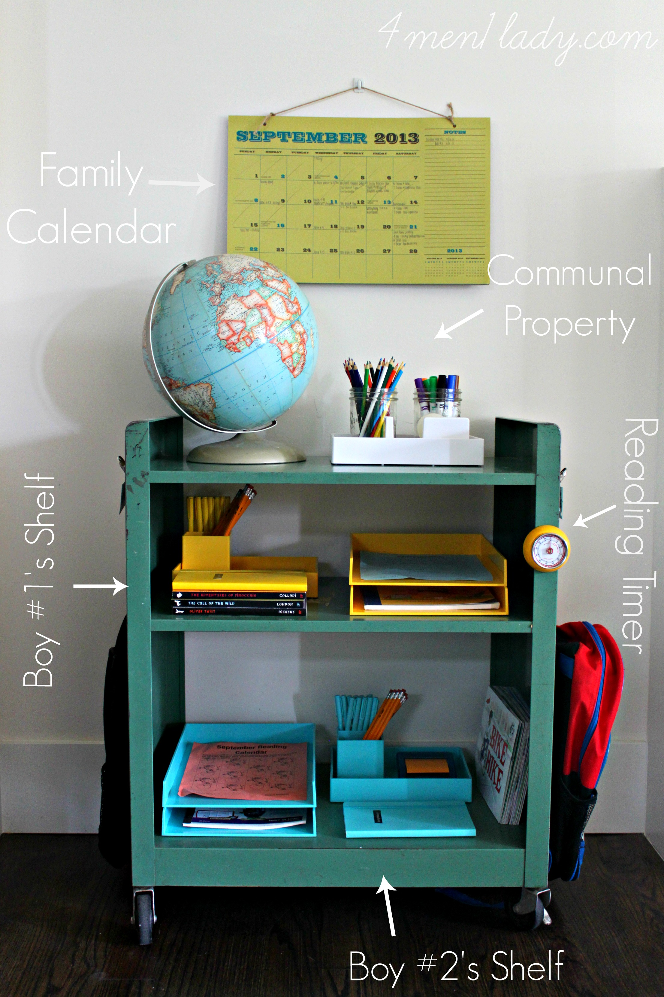 Organized homework cart | Back to School: Coolest Learning Spaces